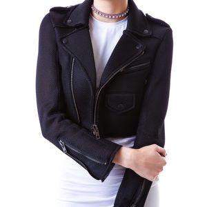 UNIF RARE mesh neo crop Moto jacket asymmetrical